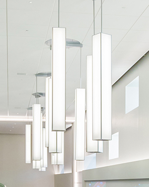 These rectangular pendant architectural lighting fixtures provide practical white light while maintaining a uniformly illuminated body ideal for large venue applications.