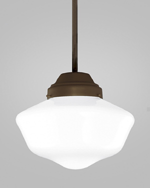 This classic schoolhouse architectural lighting fixture is modernized by a white opal glass diffuser and eco-friendly alternative finishes or paint finishes.