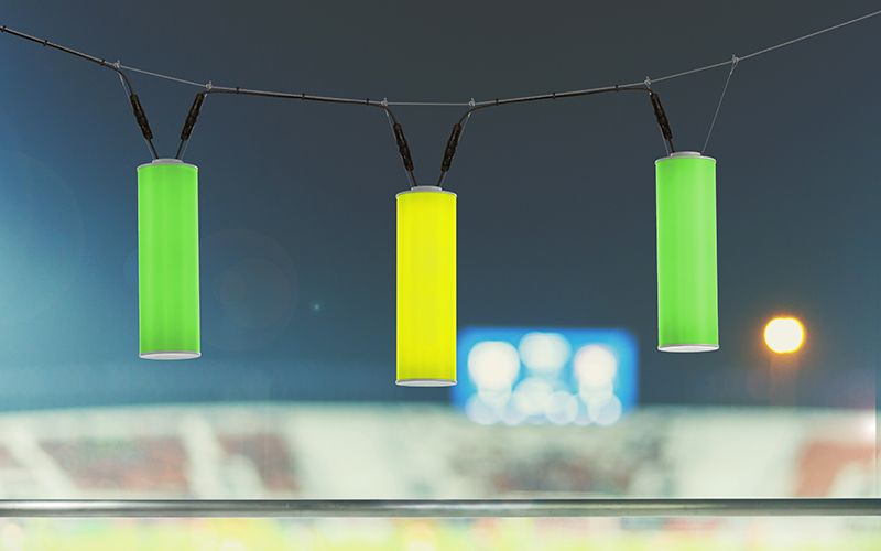 RGB in shades of green by Sequence, a catenary-mounted outdoor pendant lighting design