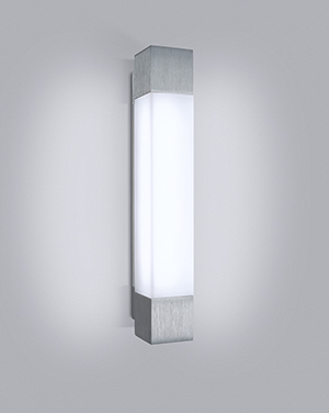 Shine, a versatile vanity architectural lighting fixture and general use sconce, includes horizontal or vertical mounting, LED sources, three size options, and end accents.