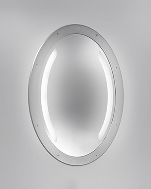 This illuminated mirror for high abuse applications takes architectural lighting to the next level with an optional night light and a rough polycarbonate surface.