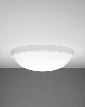 Use this flush-mount round architectural lighting fixture in any space for a crisp, clean look. The design features a matte white acrylic dome and a metal ring.
