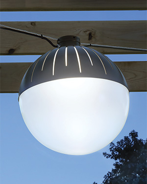 Zume is an outdoor pendant architectural lighting fixture, a pure glowing sphere that appears to float in space and. An ideal addition to a patio, courtyard or boulevard.