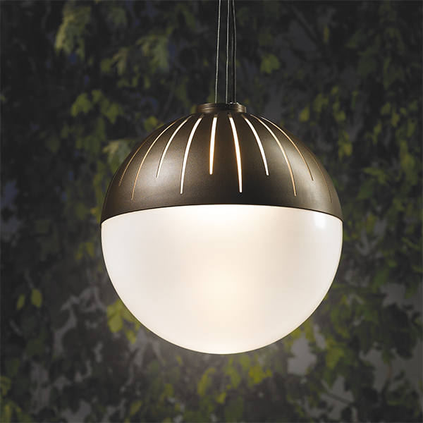 Zume outdoor pendant lighting up leaves at night
