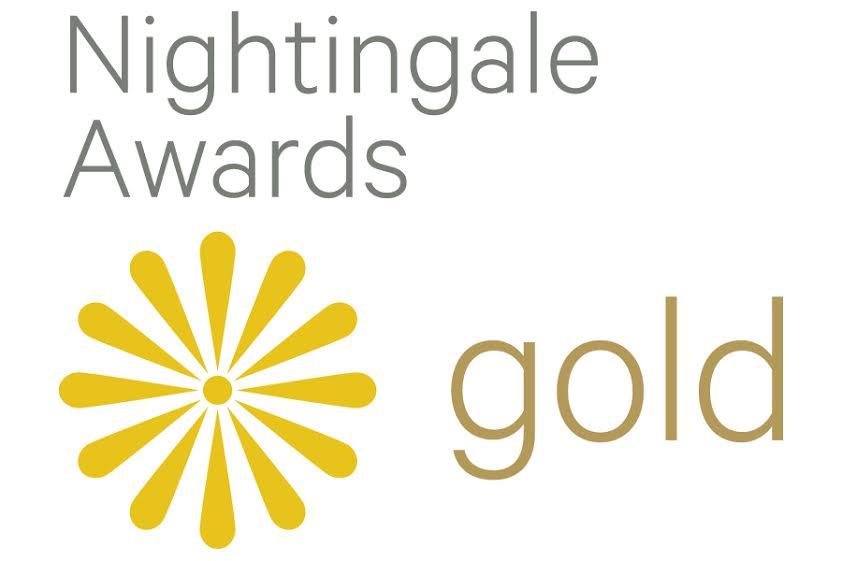 2018 Nightingale Gold logo, awarded to Visa Lighting's Gig behavioral health task light