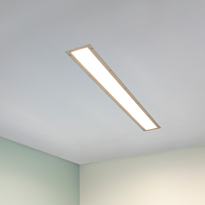 Visage linear wall/ceiling luminaire for behavioral health