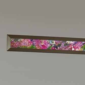 flush mount LED wall sconce with Vara Kamin lighted artwork