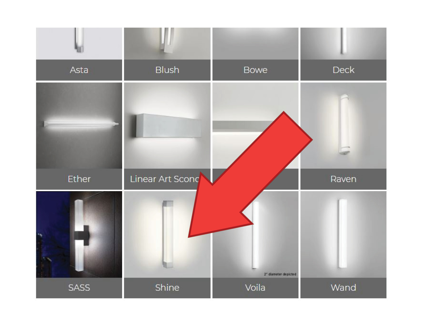 All Visa Lighting products have Sketchup lighting and Revit lighting families, shown here in a grid