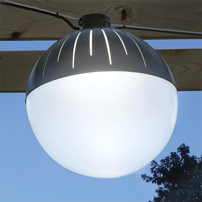 Zume catenary globe style pendant, which will be shown at Salex Light Up Your Landscape 2018