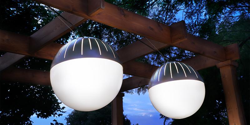 Zume globe pendants as part of a pergola lighting design